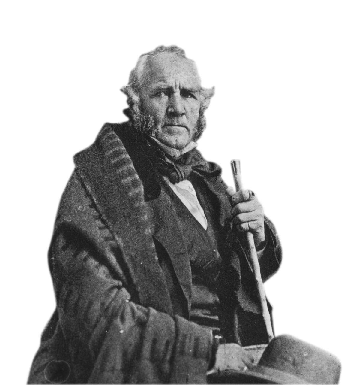 General Sam Houston 1857 - copy of Fredericks Gallery portrait. HOUCHRON CAPTION (04/03/1999): Houston. HOUCHRON CAPTION (03/07/2000): Sam Houston, hero of the Battle of San Jacinto, poses for a photograph in 1857. HOUCHRON CAPTION (04/14/2002): None.