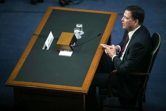 Former FBI Director James Comey testifies before the Senate Intelligence Committee on Capitol Hill last week. (Al Drago/The New York Times)