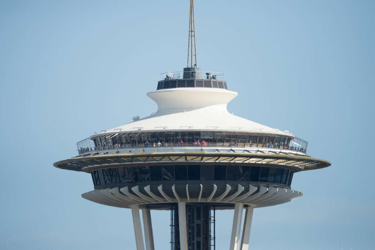 After: A rendering of the redesigned Space Needle. The Space Needle announced details of a $100 million renovation Monday, June 12, 2017.
