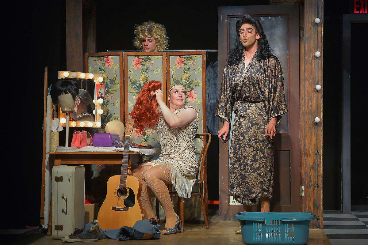 """From left:Casey (Adam Magill),Miss Tracy Mills (Kraig Swartz) and Rexy (Jason Kapoor) in Marin Theatre Company's """"The Legend of Georgia McBride."""""""