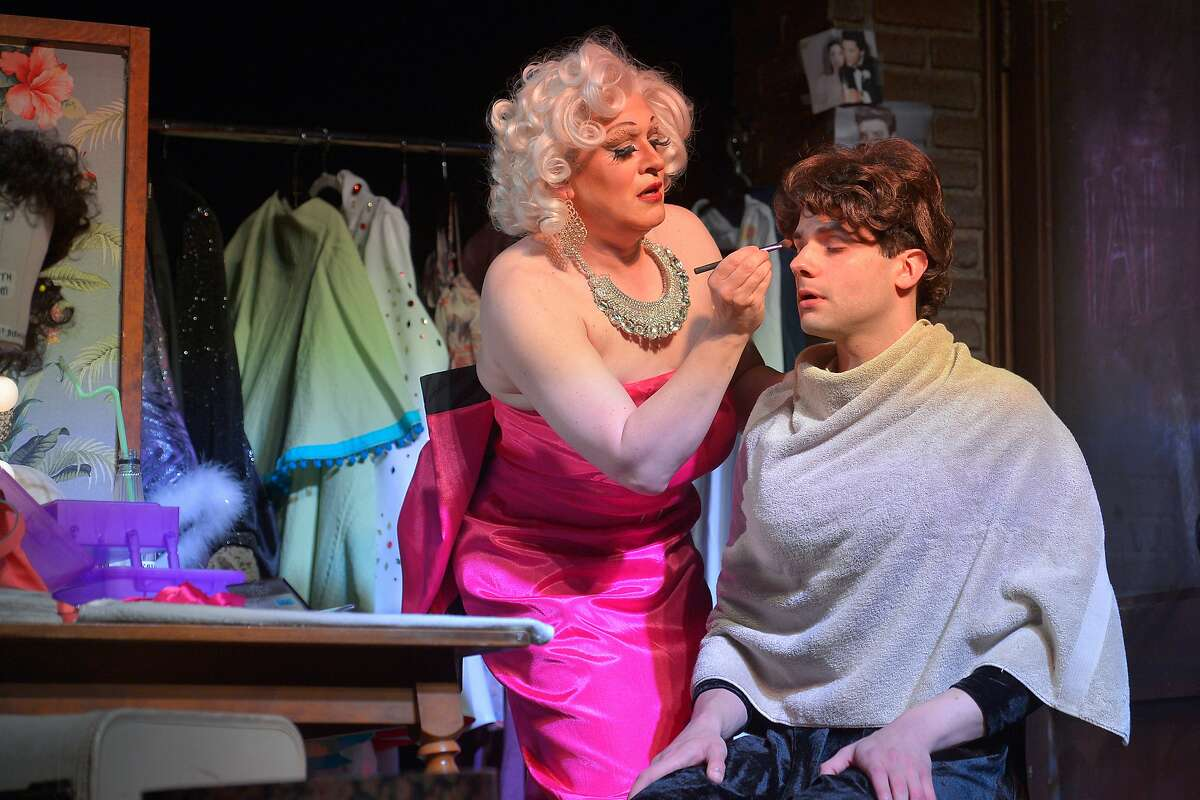 """From left:�Miss Tracy Mills (Kraig Swartz) and Casey (Adam Magill) in Marin Theatre Company's """"The Legend of Georgia McBride."""""""