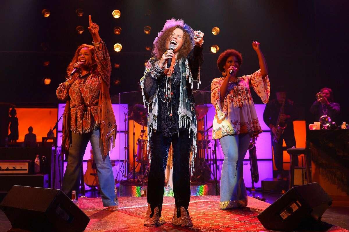 Kacee Clanton (center) as Janis Joplin, with Sylvia MacCalla (left) and Ashley Támar Davis.