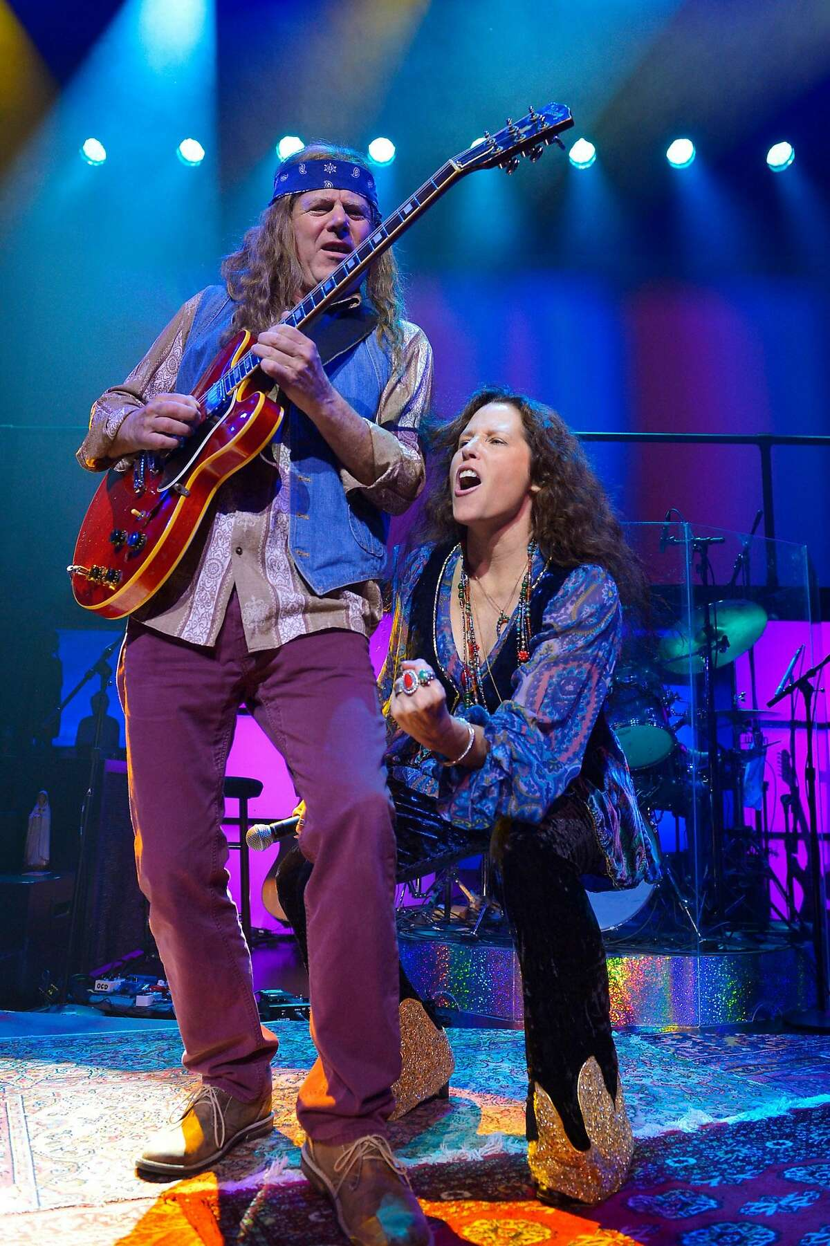 Kacee Clanton as Janis Joplin is accompanied by Michael Lent at ACT.