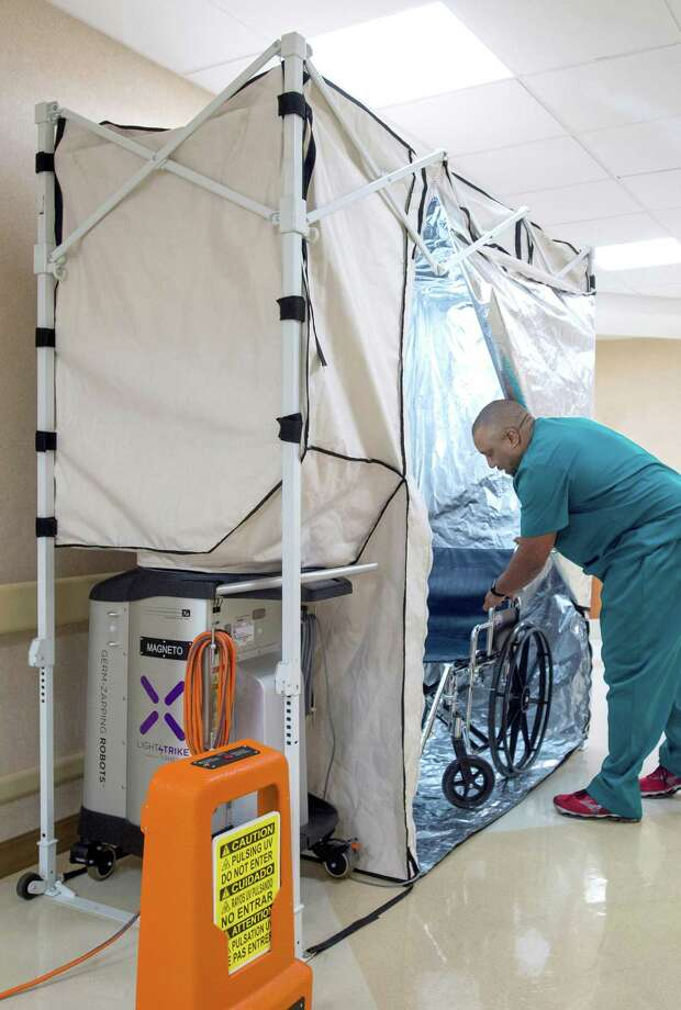 Xenex is introducing its new product, the LightStrike Disinfection Pod, this week. The pod will be used to decontaminate hospital equipment that moves from room to room.  Courtesy Xenex Photo: Courtesy Xenex / Mark Humphries