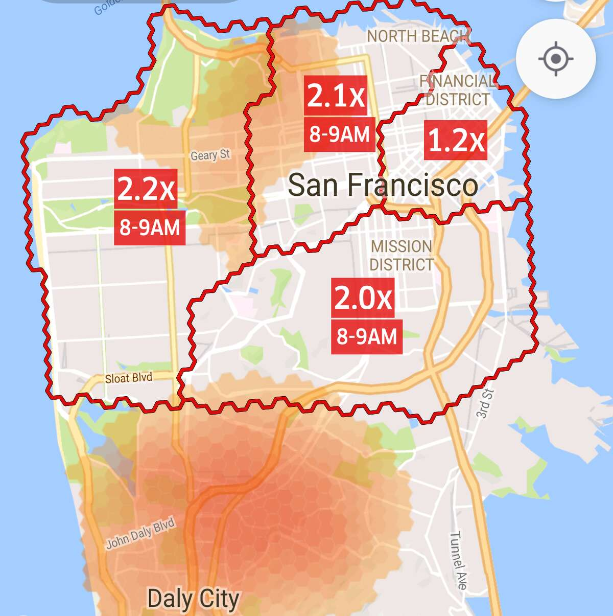 By Uber using guaranteed Earnings Boosts to encourage drivers to saturate communities like the Richmond, Marina, and Noe Valley, riders there often pay no surge pricing because drivers often outnumber ride requests, while communities without active Earnings Boosts, like the Outer Mission and Ingleside, can suffer by having a deficit of drivers -- the result of which is increased surge pricing.