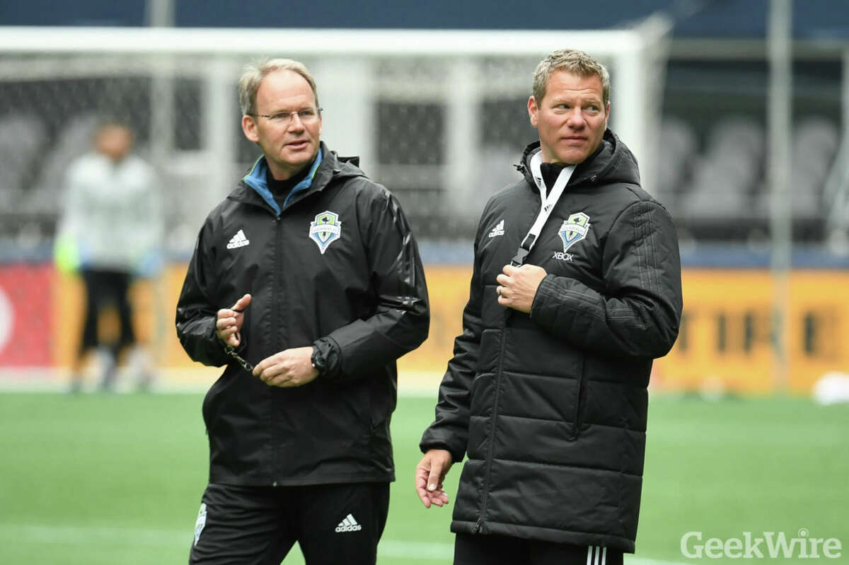 Sounders Head Coach Brian Schmetzer & High Performance Director Dave Tenney.