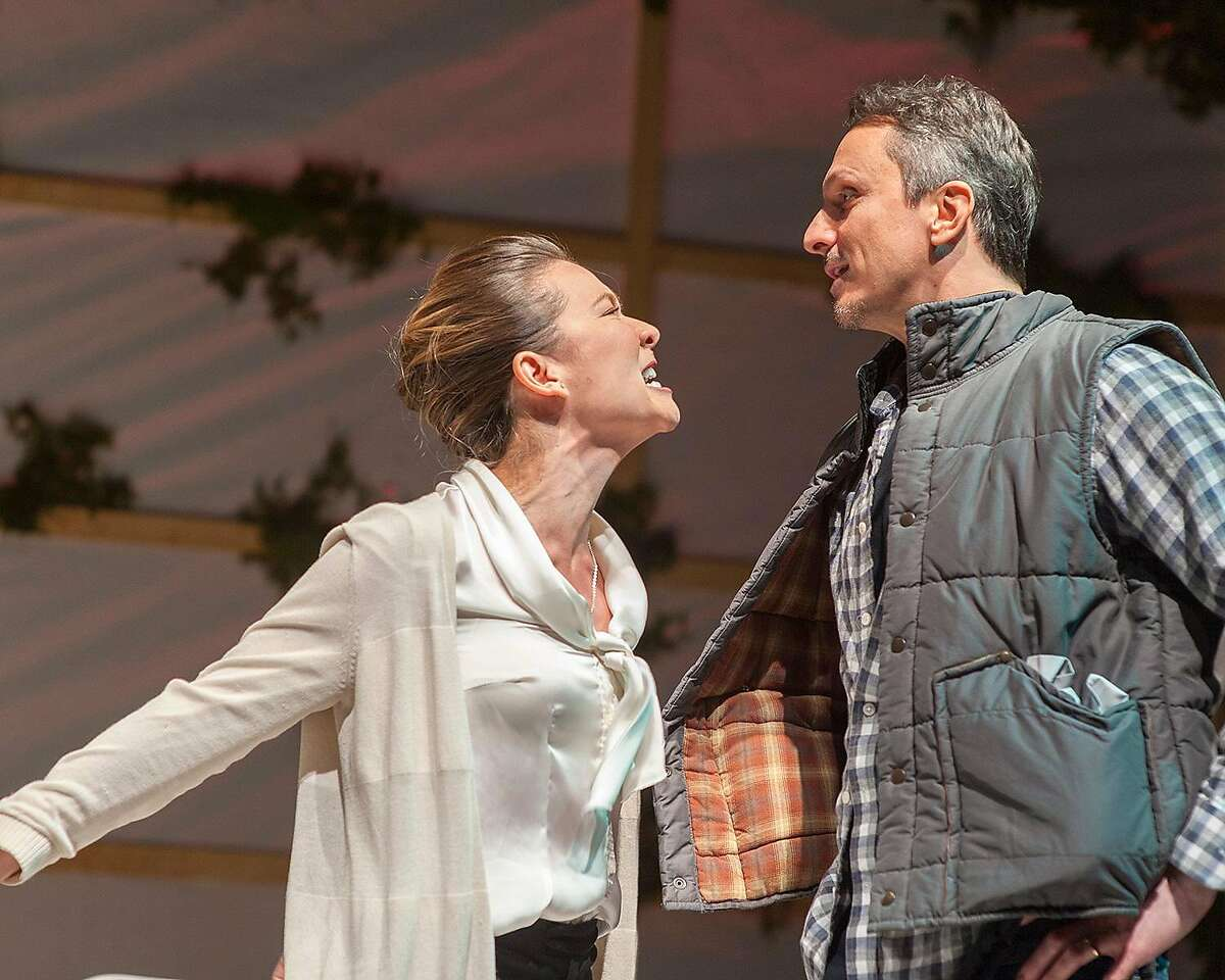 """From left: Charisse Loriaux as Samantha and James Asher as Ben in San Francisco Playhouse�s """"You Mean to Do Me Harm."""""""