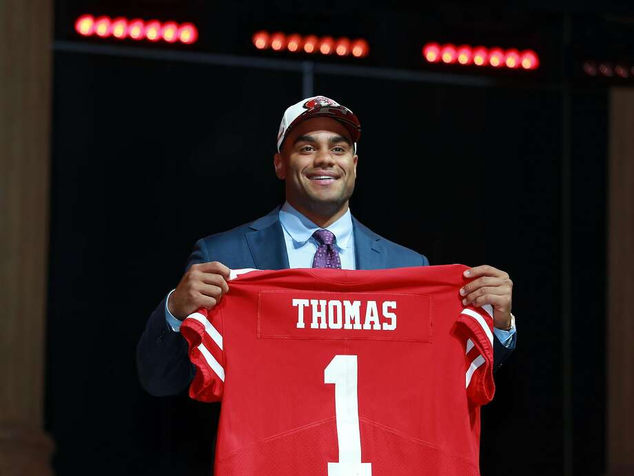 Stanford's Solomon Thomas poses after being selected by the San Francisco 49ers during the first round of the 2017 NFL football draft, Thursday, April 27, 2017, in Philadelphia.  (Jeff Haynes/AP Images for Panini) Photo: Jeff Haynes, Associated Press