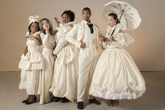 "From left:�Afi Bijou, Sydney Morton, Jasmine Bracey, Lance Gardner and Jennifer Regan in Berkeley Rep's ""An Octoroon."""