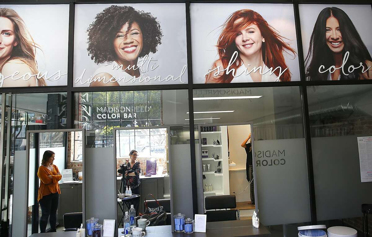 Clients of Madison Reed pictured above at the new �Color Bar� in the Mission where women can utilize their dye system for $35 root touch-ups on Monday, June 12, 2017, in San Francisco, Calif.