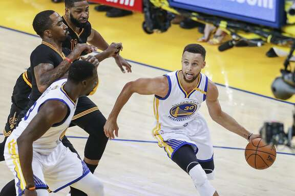 Golden State Warriors' Stephen Curry drives in the first quarter during Game 5 of the 2017 NBA Finals at Oracle Arena on Monday, June 12, 2017 in Oakland, Calif.