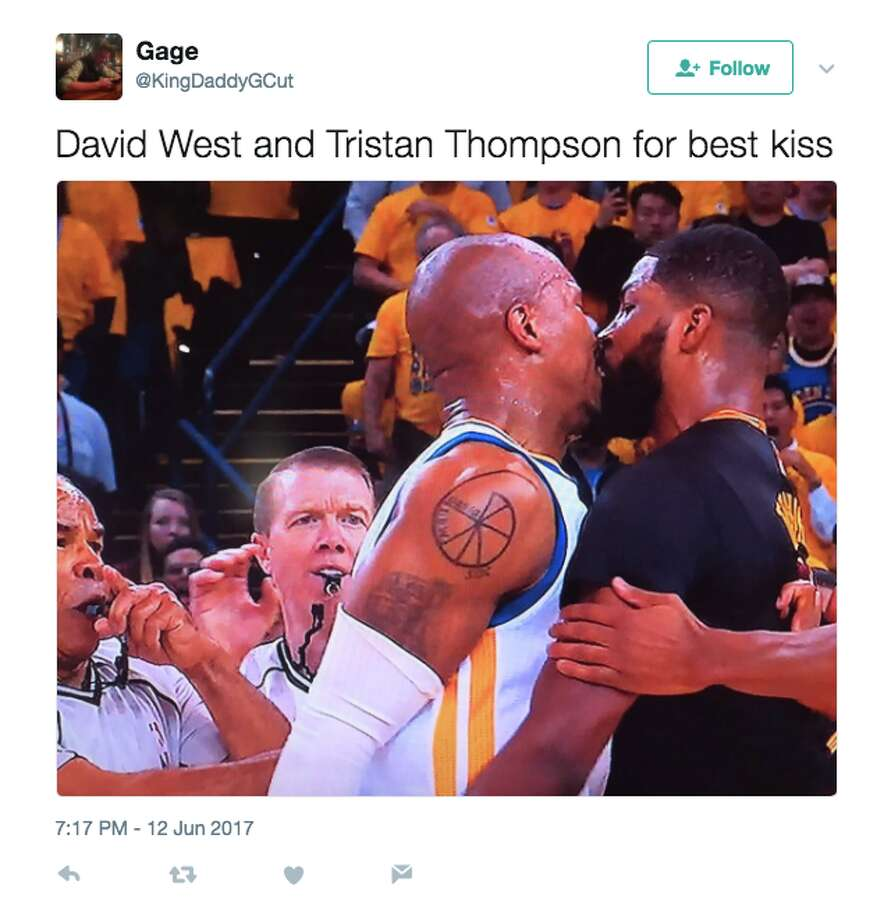 David West and Tristan Thompson got up close and personal during Game 5 of the NBA Finals. Photo: @KingDaddyGCut/Twitter