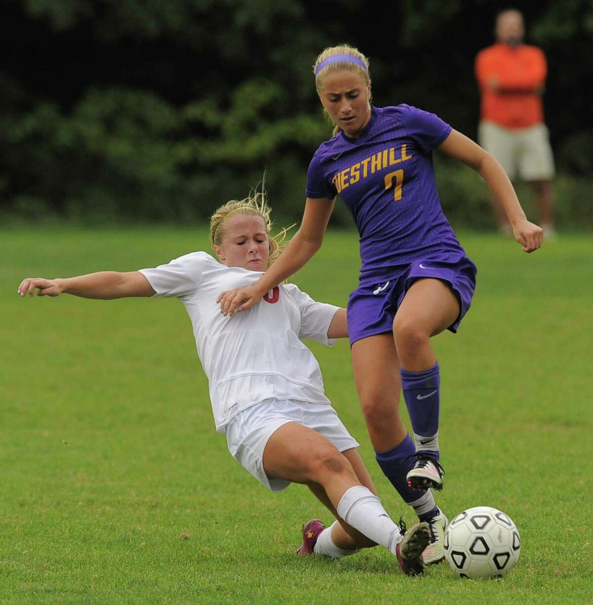 Westhill's Natalie Druehl, right, has formed an unbreakable bond with forward Chelsea Domond. The two teammates have been playing together since they were on an under-8 team.