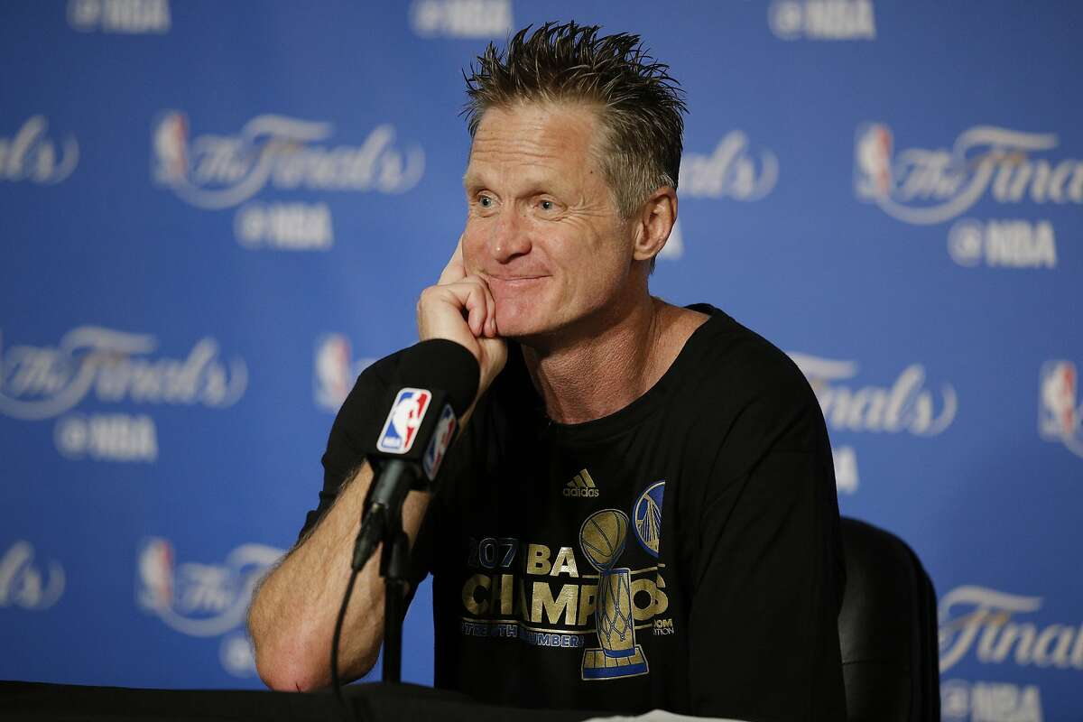 Golden State Warriors head coach Steve Kerr during a news conference following Game 5 of the NBA Finals between the Golden State Warriors and the Cleveland Cavaliers on Monday, June 12, 2017, at Oracle Arena in Oakland, Calif.
