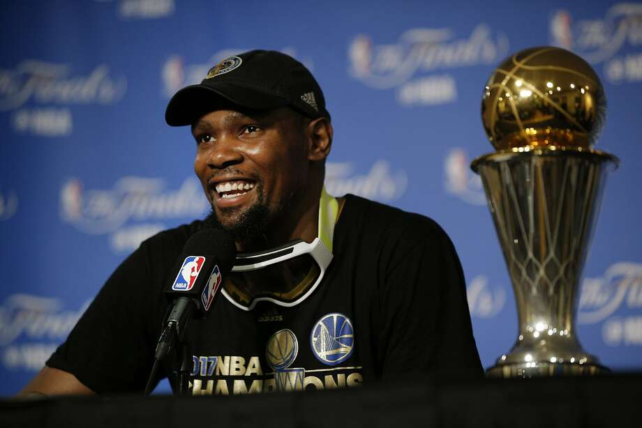 Golden State Warriors forward Kevin Durant (35) during a news conference following Game 5 of the NBA Finals between the Golden State Warriors and the Cleveland Cavaliers on Monday, June 12, 2017, at Oracle Arena in Oakland, Calif. Durant was roasted onstage at the ESPY awards for his decision to join the Warriors. Scroll through the slideshow for a look at the reactions. Photo: Santiago Mejia, The Chronicle