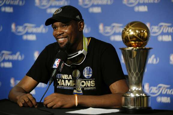 Golden State Warriors forward Kevin Durant (35) during a news conference following Game 5 of the NBA Finals between the Golden State Warriors and the Cleveland Cavaliers on Monday, June 12, 2017, at Oracle Arena in Oakland, Calif.