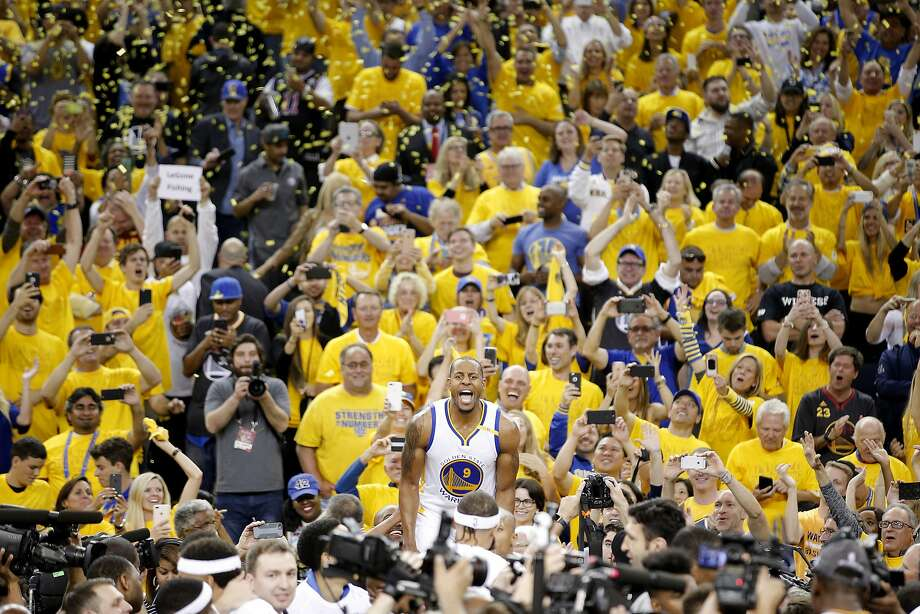 Golden State Warriors forward Andre Iguodala reacts after Game 5 of the NBA Finals on June 12, 2017, at Oracle Arena in Oakland. Photo: Santiago Mejia, The Chronicle
