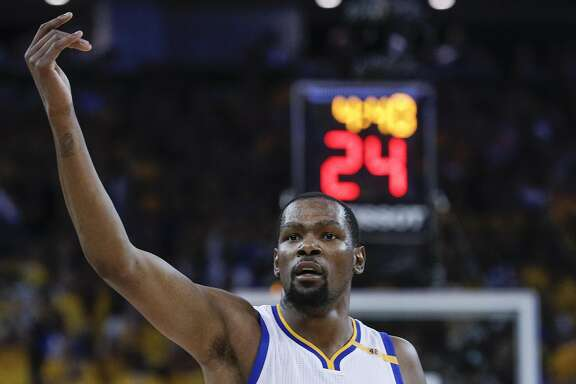 Golden State Warriors' Kevin Durant is seen in the second quarter during Game 5 of the 2017 NBA Finals at Oracle Arena on Monday, June 12, 2017 in Oakland, Calif.