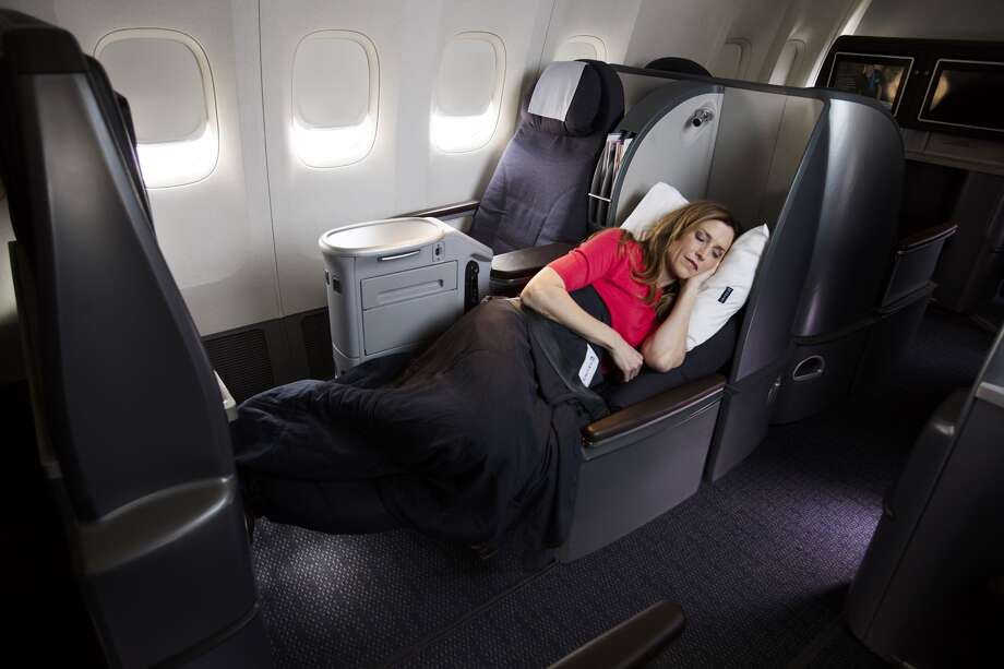 United Airlines will begin offering 180-degree, flat-bed seats on its overnight flights between Houston and Hawaii. Photo provided by United.