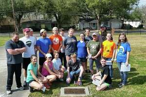 Student council members from Little Cypress Mauriceville High School in Orange worked with Alliance Masonry to place four markers.