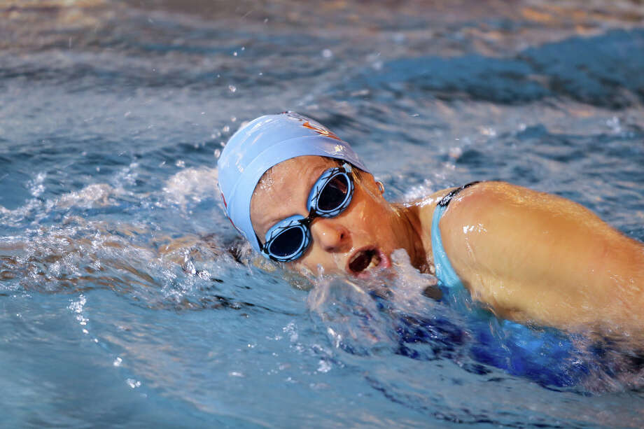 DeEtte Sauer is shown swimming in the Brazos Valley Senior Games.