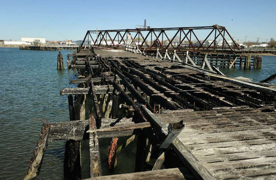 The burned Pleasure Beach Bridge in Bridgeport, Conn. on Wednesday, April 27, 2016. Photo: Brian A. Pounds / Hearst Connecticut Media / Connecticut Post