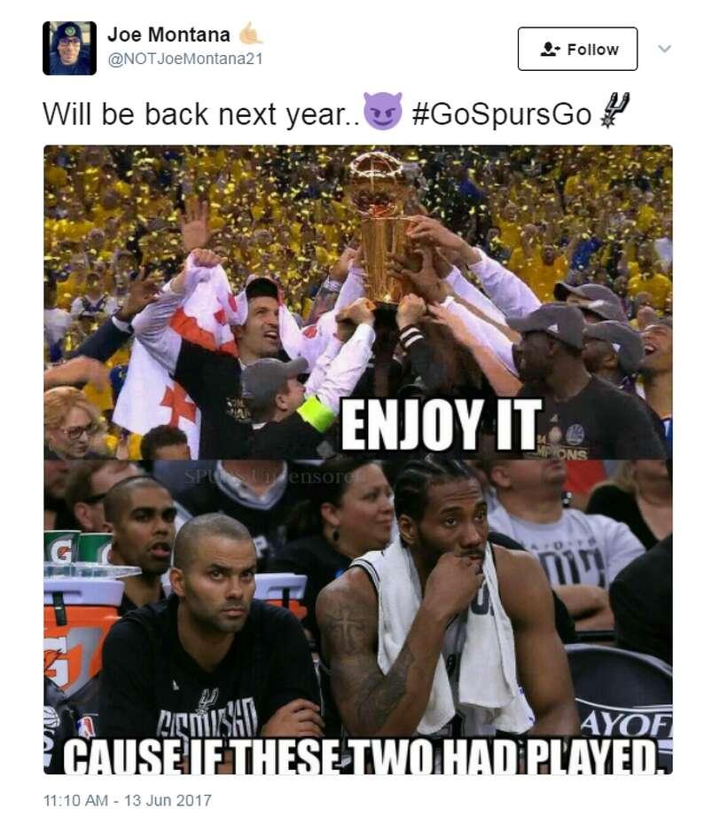 @NOTJoeMontana21: Will be back next year.. #GoSpursGo Photo: Twitter.com/Instagram.com