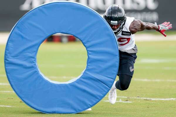 Houston Texans safety Andre Hal runs a drill during mini camp at The Methodist Training Center on Tuesday, June 13, 2017, in Houston.