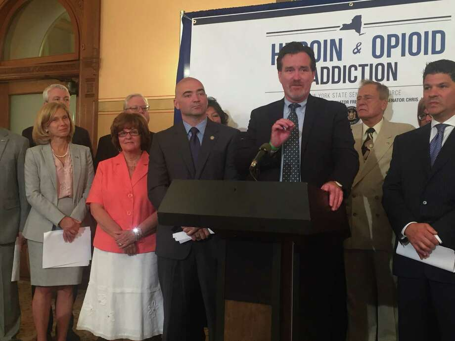 Senate Majority Leader John Flanagan promotes package of bills to combat heroin and opioid abuse Photo: Claire Hughes / Times Union
