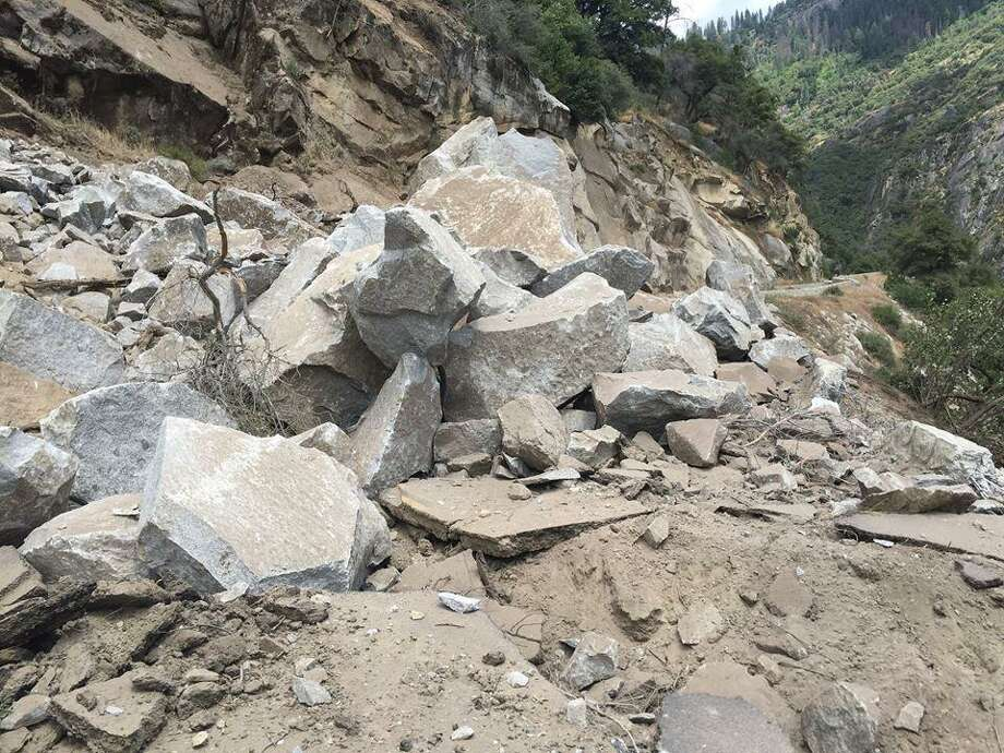 A rockslide blocked the Highway 140 entrance to Yosemite on Monday, according to park officials. Photo: Yosemite National Park