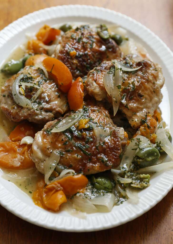 Jessica Battilana's Braised Chicken with Apricots and Green Olives is seen on Wednesday, May 31, 2017 in San Francisco, Calif.