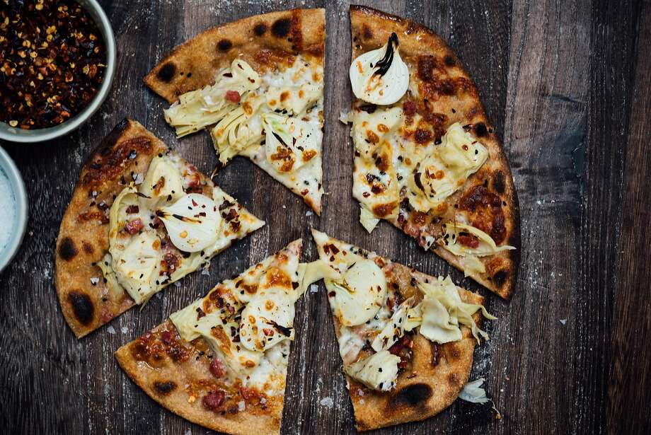 The finished version of Nik Sharma's Sourdough Naan Pizza Photo: Nik Sharma