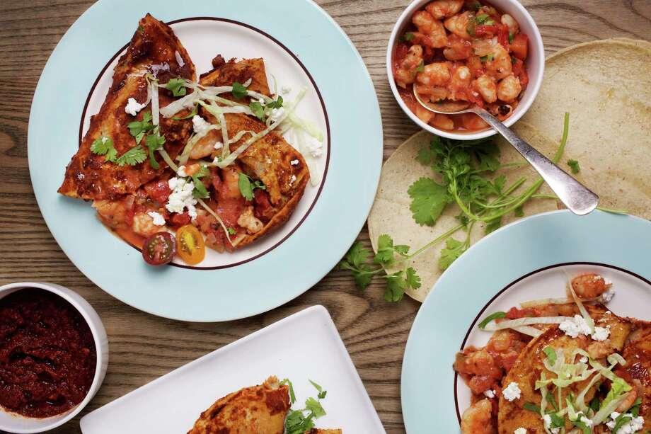 Red Shrimp Enchiladas. Photo: Photo By Deb Lindsey For The Washington Post. / For The Washington Post