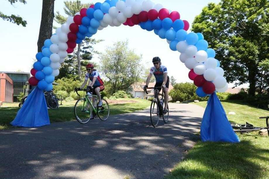 Participants cycle in the 2016 Ride for Our Vets fundraiser at the Point72 Asset Management campus at 72 Cummings Point Road in Stamford. Photo: Contributed Photo