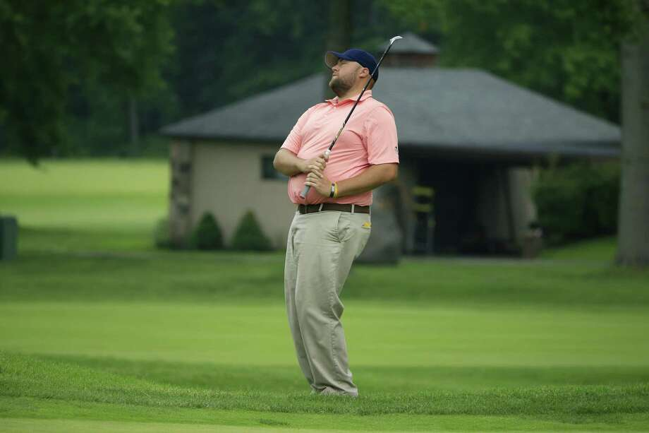 Matthew Campbell reacts after nearly holing his birdie chip at the seventh green during 2017 U.S. Open Sectional Qualifying at Canoe Brook Country Club in Summit, N.J. on Monday, June 5, 2017. (Copyright USGA/Michael Cohen) ORG XMIT: 17USOSEC_N5T9928 Photo: Michael Cohen / USGA/Michael Cohen