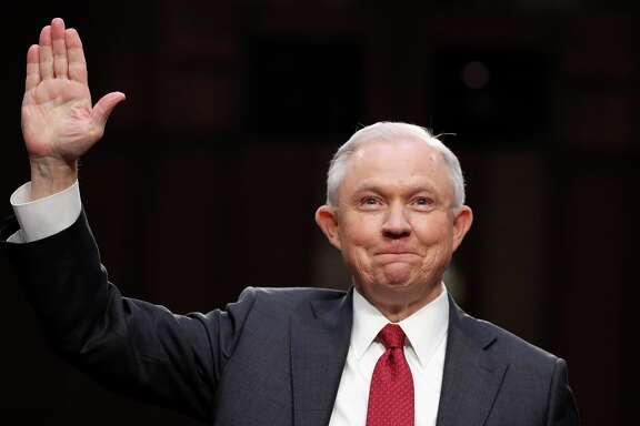 Attorney General Jeff Sessions smiles after being sworn-in on Capitol Hill in Washington, Tuesday, June 13, 2017, prior to testifying before the Senate Intelligence Committee hearing about his role in the firing of James Comey, his Russian contacts during the campaign and his decision to recuse from an investigation into possible ties between Moscow and associates of President Donald Trump. (AP Photo/Alex Brandon)