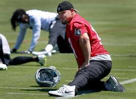 Kicker Sebastian Janikowski stretches during a workout at the Oakland Raiders practice facility in Alameda, Calif. on Tuesday, June 13, 2017.