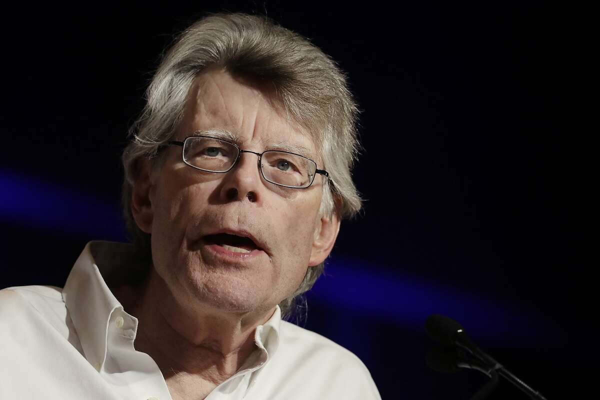 FILE - In this June 1, 2017 file photo, author Stephen King speaks at Book Expo America in New York. King says his frequent criticism of President Donald Trump has gotten him blocked by America�s head of state on Twitter. The author of �Firestarter� and �It� tweeted on Tuesday, June 13, 2017, that Trump has blocked him on the social media website. (AP Photo/Mark Lennihan, File)