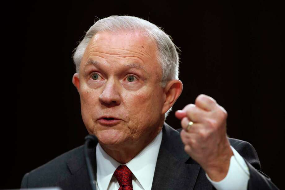 Attorney General Jeff Sessions gestures as he testifies on Capitol Hill in Washington, Tuesday, June 13, 2017, before the Senate Intelligence Committee hearingabout his role in the firing of James Comey, his Russian contacts during the campaign and his decision to recuse from an investigation into possible ties between Moscow and associates of President Donald Trump. Photo: Jacquelyn Martin, AP / Copyright 2017 The Associated Press. All rights reserved.