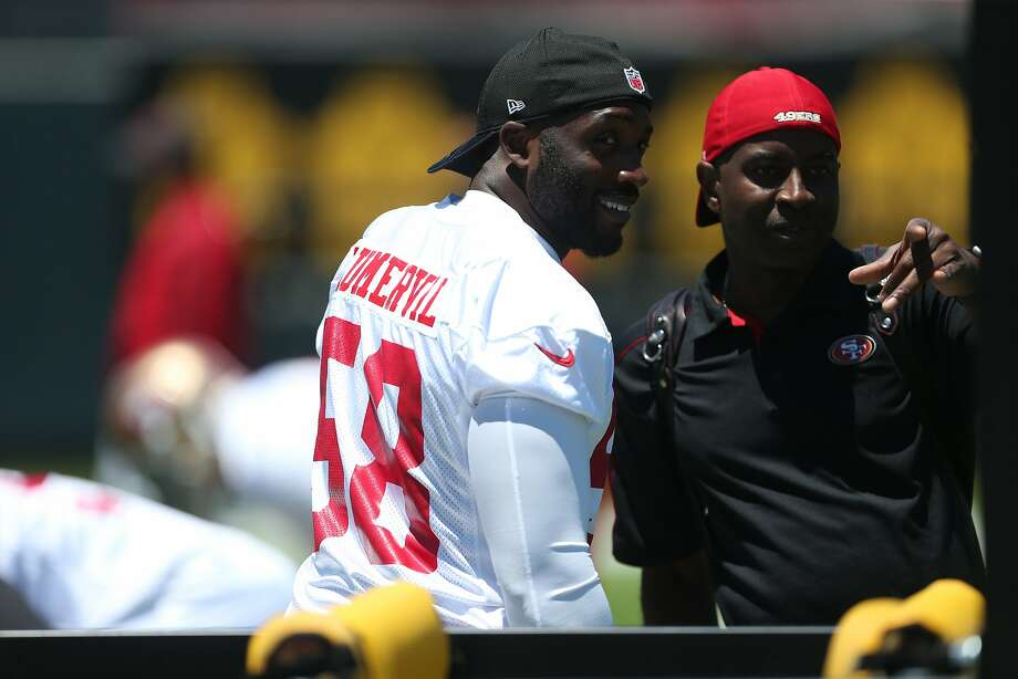 The 49ers hope Elvis Dumervil, 33, will repeat the success of his 2009 and 2014 seasons, when he posted a career-high 17 sacks. Photo: Beck Diefenbach, Special To The Chronicle
