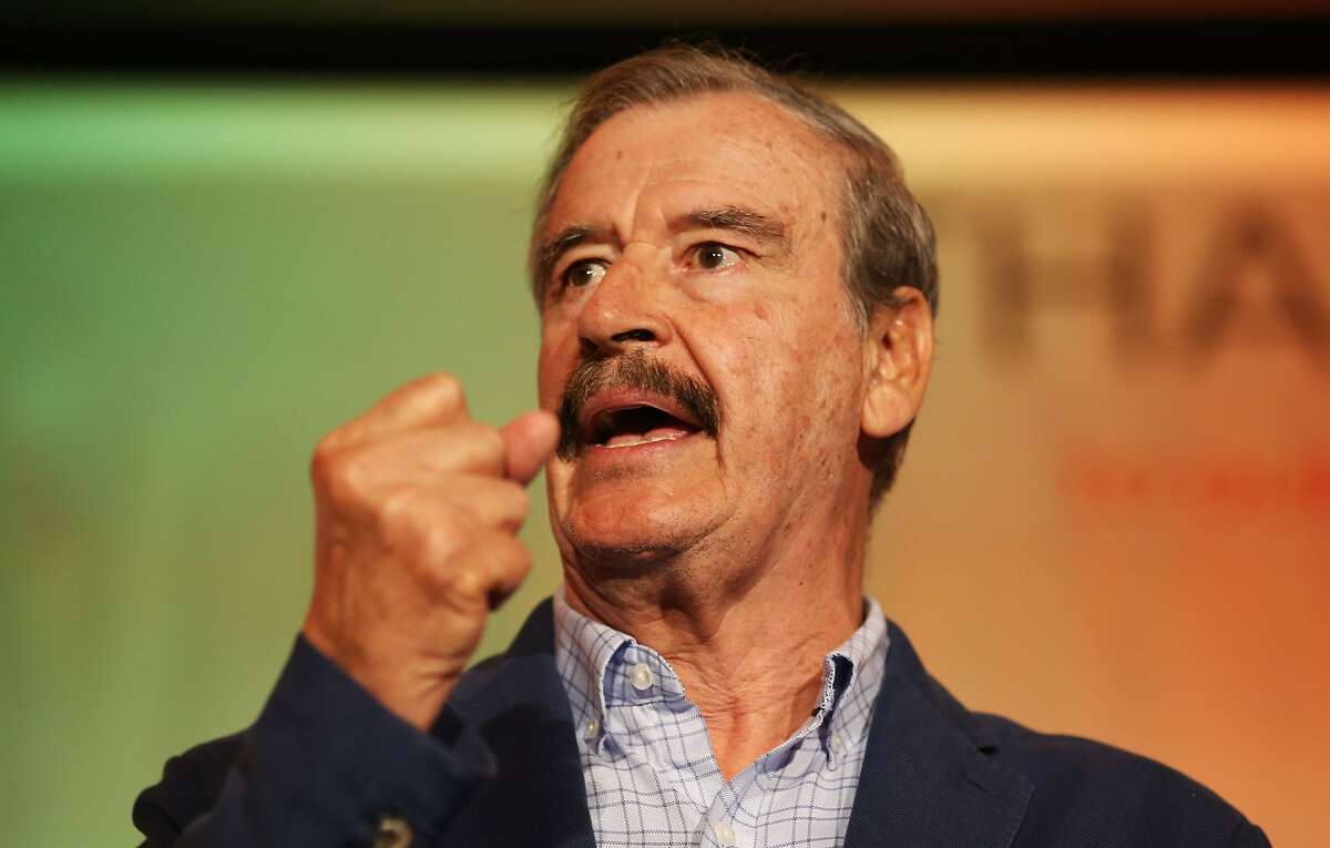 Former Mexican President Vicente Fox speaks at the National Cannabis Industry Association's annual conference on Tuesday in Oakland.