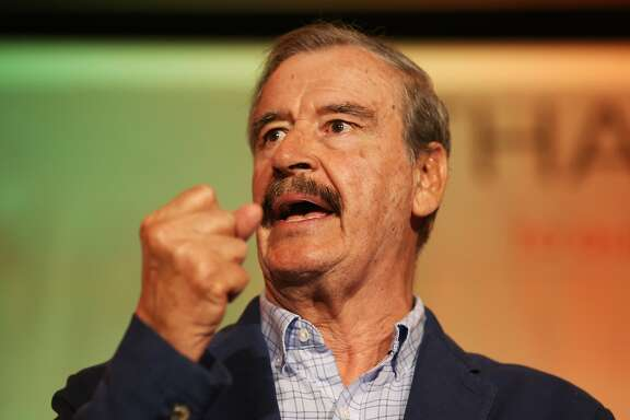 Former President of Mexico Vicente Fox speaks at the National Cannabis Industry Association's annual conference on Tuesday, June 13, 2017 in Oakland, Calif.