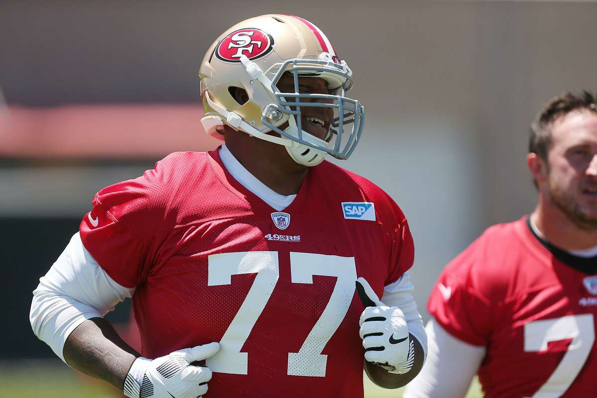 49ers offensive lineman Trent Brown (77) during practice on Tuesday, June 13, 2017 in Santa Clara, Calif.
