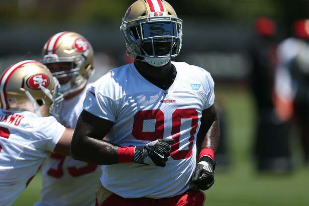 49ers nose tackle Earl Mitchell (90) during practice on Tuesday, June 13, 2017 in Santa Clara, Calif.