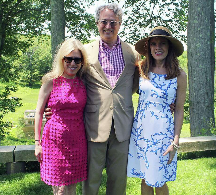 From left are Glass House chief curator Hilary Lewis, John Arbuckle and Ann-Marie Belli. Photo: Erin Kayata / Hearst Connecticut Media / New Canaan News