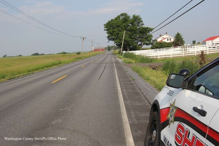 A motorcycle and horse collided on this road in Fort Edward.