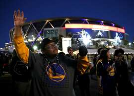 OAKLAND, CA - JUNE 12:  Golden State Warriors celebrate outside of Oracle Arena on June 12, 2017 in Oakland, California.  The Golden State Warriors defeated the Cleveland Cavaliers in game five of the NBA Finals by a score of 129-120 to win the NBA Championship.  (Photo by Justin Sullivan/Getty Images)