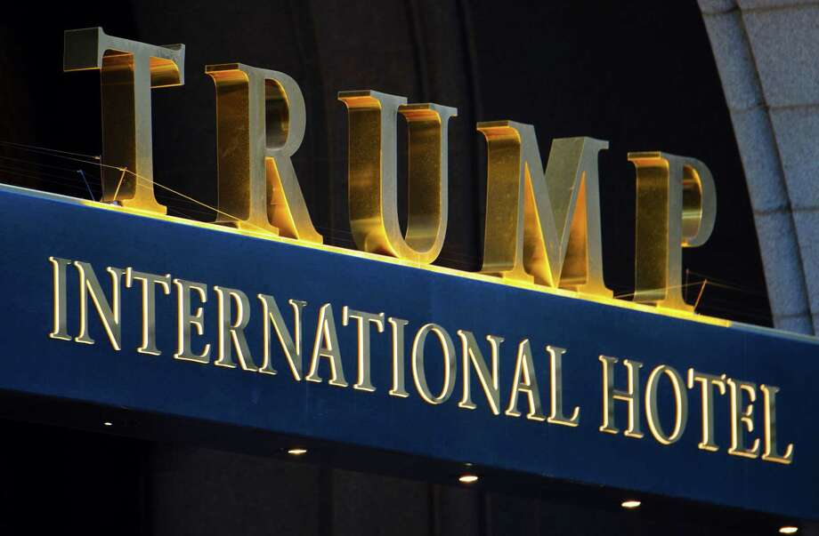 This file photo taken on March 23, 2017 shows the sign on the Trump International Hotel in Washington, DC. Photo: Paul J. Richards / AFP /Getty Images / AFP or licensors