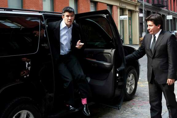 Travis Kalanick, the chief executive of the ride-hailing service Uber, arrives at the company's offices in New York in 2011.