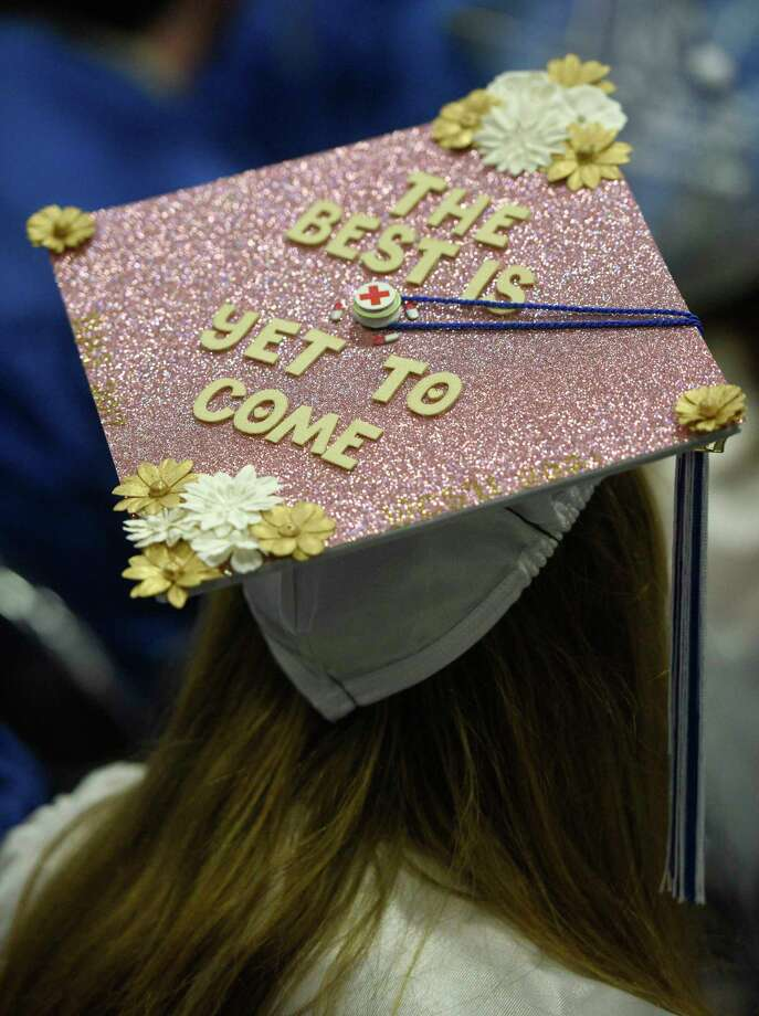 Decorated caps from the 2017 Commencement Exercises of Newtown High School, on Tuesday afternoon, June 13, 2017, at the O'Neill Center, Western Connecticut State University, Danbury, Conn. Photo: H John Voorhees III, Hearst Connecticut Media / The News-Times